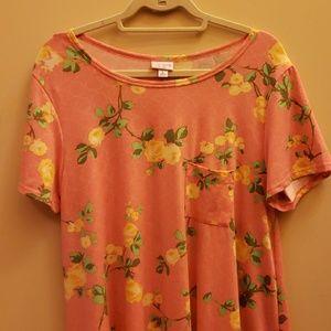 Lularoe pink floral Carly dress Large